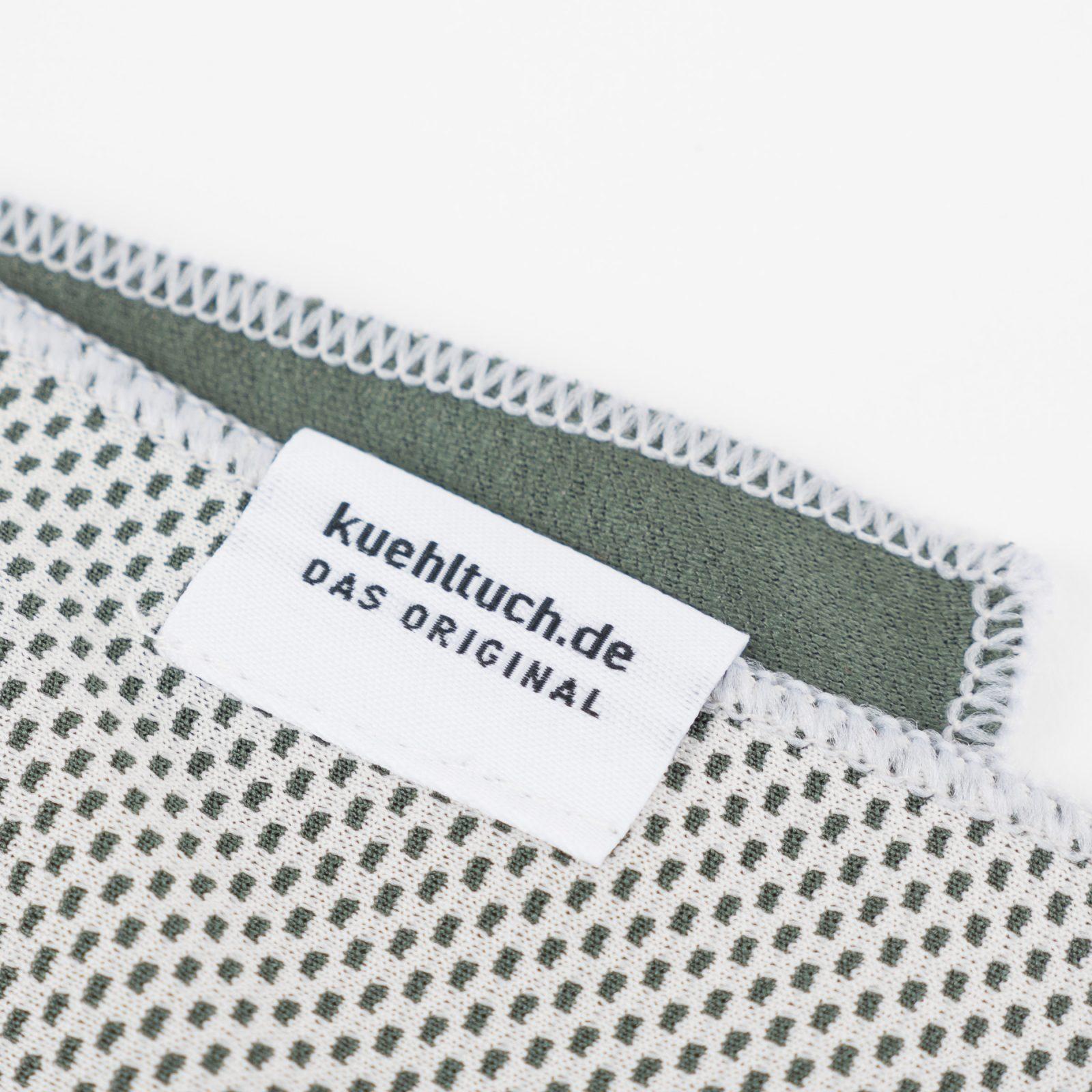 Kuehltuch taubengrau Label